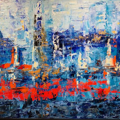 Rain shower - 43x70 cm, oil gold canvas