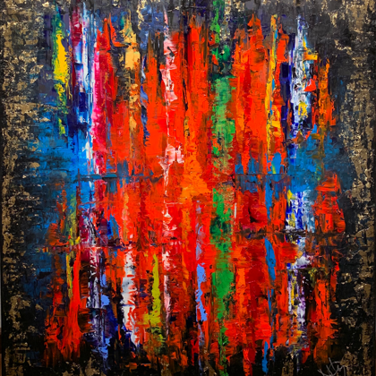 Supernova - 80x70 cm, oil gold canvas