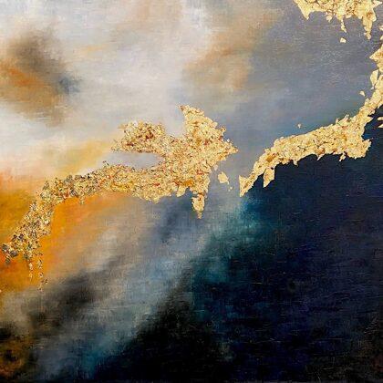 The ninth slab - Ballad of Gilgamesh - 100x160 cm, oil gold canvas