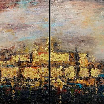 Ruins of Larsa (diptichon) - 2x80x80 cm, oil gold canvas