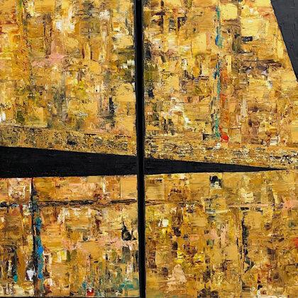 Sanctuary in Nippur (diptichon) - 2x70x70 cm, oil gold canvas