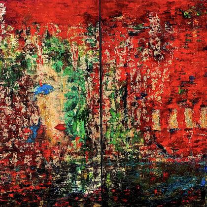 Queen of Sheba (diptichon) - 2x160x140 cm, oil gold canvas