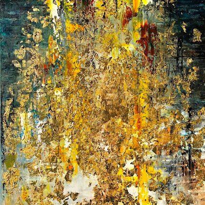 Tiger - 100x50 cm, oil gold canvas