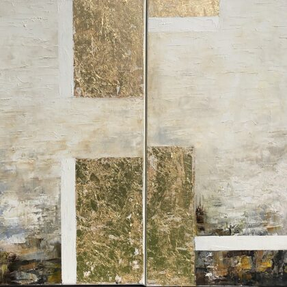 Zikkuratu (diptichon) - 2x60x60 cm, oil gold canvas