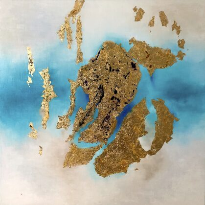 Assyrian treasure - 120x120 cm, oil gold canvas