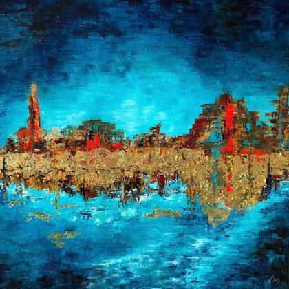 Euphrates - 120x120 cm, oil gold canvas