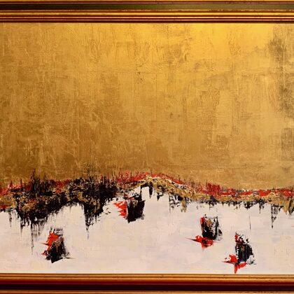 Pantheras at lake Ita - 80x150 cm, oil gold canvas