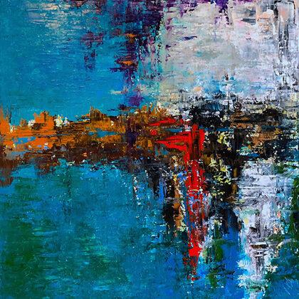 Purple rain - 70x70 cm, oil gold canvas