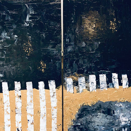 Once upon a time... (diptichon) - 2x70x70, oil gold wood