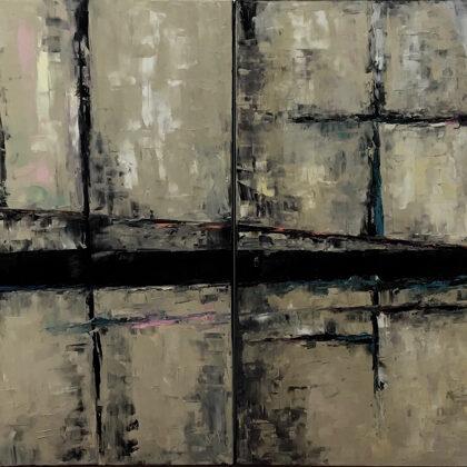 Secret way (diptichon) - 2x100x100 cm, oil gold canvas