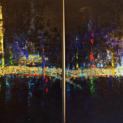 Barcelona (diptichon) - 2x120x120 cm, oil gold canvas