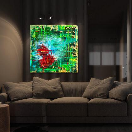 MM Tibetan goldfishes - 100x100 cm - interior (edited photo)